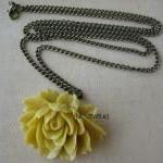 Yellow Ruffle Rose Cabochon..