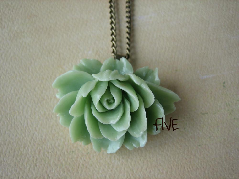 Seafoam Green Ruffle Rose Cabochon Pendant on Antique Brass Chain Necklace - Jewelry by FIVE