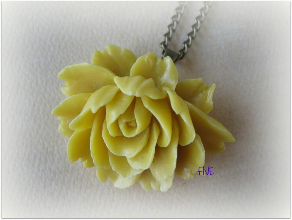 Yellow Ruffle Rose Cabochon Pendant on Antique Brass Chain Necklace - Jewelry by FIVE
