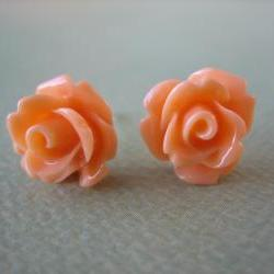 Adorable Mini Rose Earrings - Creamsicle - Jewelry by FIVE