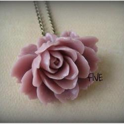Mauve Ruffle Rose Cabochon Pendant on Antique Brass Chain Necklace - Jewelry by FIVE