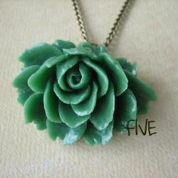 Green Ruffle Rose Cabochon Pendant on Antique Brass Chain Necklace - Jewelry by FIVE