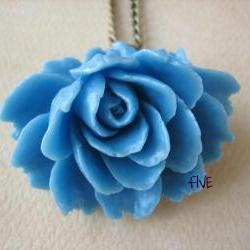 Blue Ruffle Rose Cabochon Pendant on Antique Brass Chain Necklace - Jewelry by FIVE