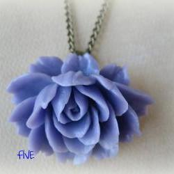 Lilac Ruffle Rose Cabochon Pendant on Antique Brass Chain Necklace - Jewelry by FIVE